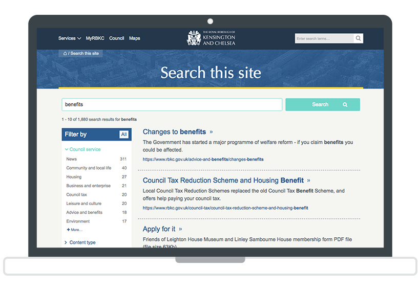 Metadata-faceted navigation example from the Royal Borough of Kensington and Chelsea website.